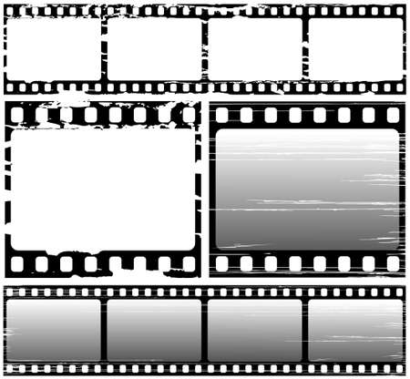 negative:  set of scratched film frame samples Illustration