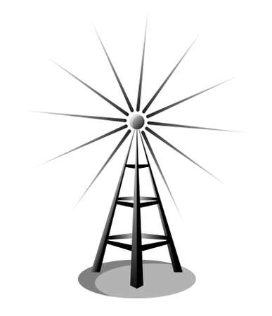 wireless tower: Illustration of a radio antenna isolated on white background
