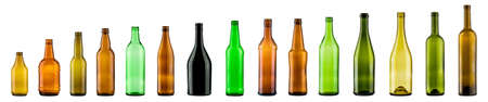 vitreous: empty color bottles collection, isolated Stock Photo
