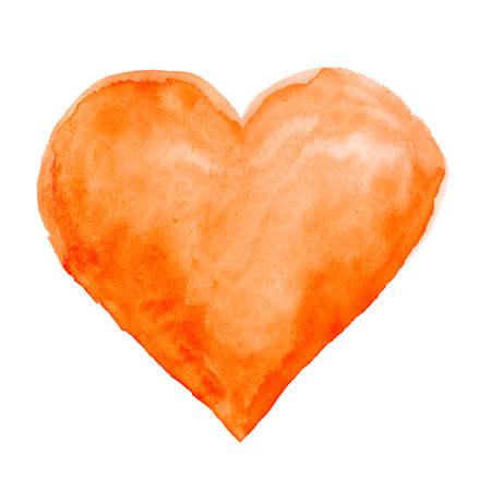 orange pattern: Watercolor hand painted heart