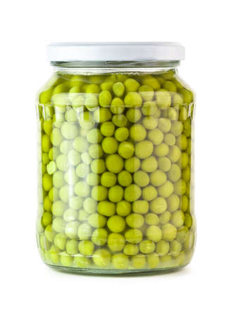 Glass jar of preserved peas  photo