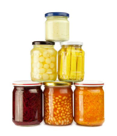 stack of preserved vegetables: beans, carrot, beetroot, onion, corn ears, horseradish Stock Photo - 7236482
