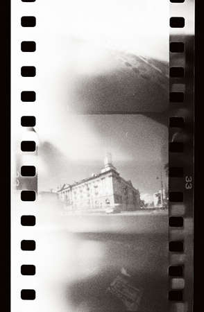 perforation texture: grunge film strip with light leaks