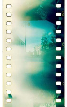 grunge film strip with light leaks