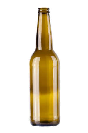 empty beer bottle on a white background photo