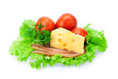 porous: Delicious ham, cheese, tomato, parsley and salad  Stock Photo