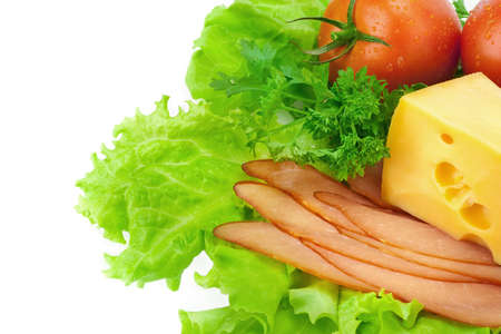 Delicious ham, cheese, tomato, parsley and salad Stock Photo - 7718202