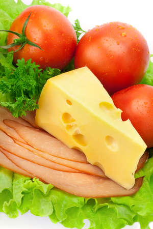 Delicious ham, cheese, tomato, parsley and salad  Banco de Imagens