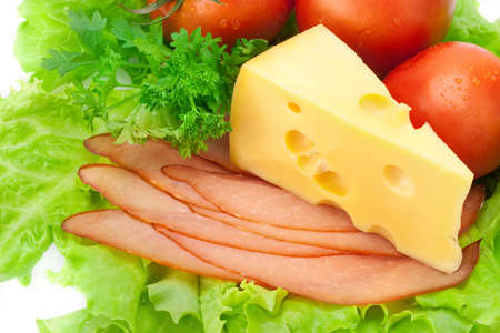 Delicious ham, cheese, tomato, parsley and salad Stock Photo - 7718207