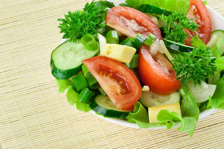 Healthy salad with tomato, cucumber, cheese Stock Photo - 7718209