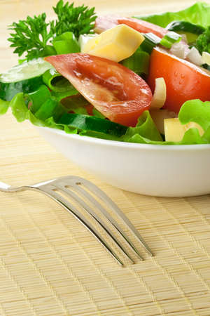 Healthy salad with tomato, cucumber, cheese Stock Photo - 7718204