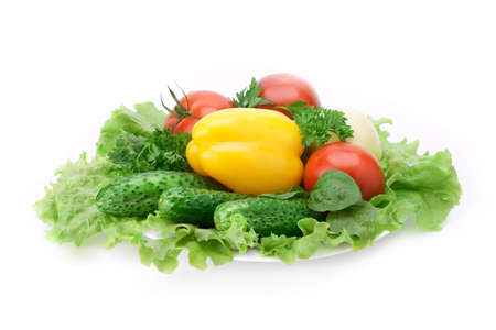 yellow paprika, cucumbers, tomato and other fresh vegetables Stock Photo - 7718182
