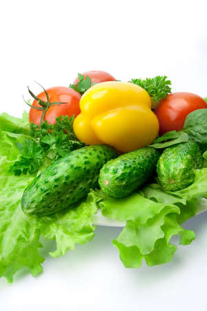 yellow paprika, cucumber, tomato and other fresh vegetables Stock Photo - 7718196