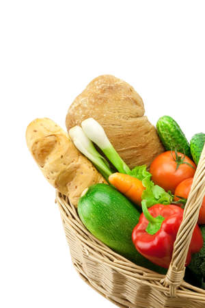 bread and fresh vegetables in the basket Stock Photo - 7718201