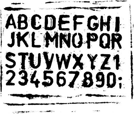 Vector font of grunge letters and numbers