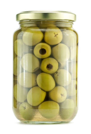glass jar: Green olives on a white background