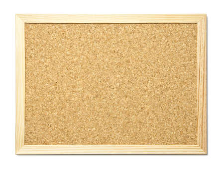 Blank cork message board with wooden frame photo