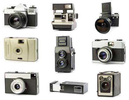 vintage film cameras set, isolated photo