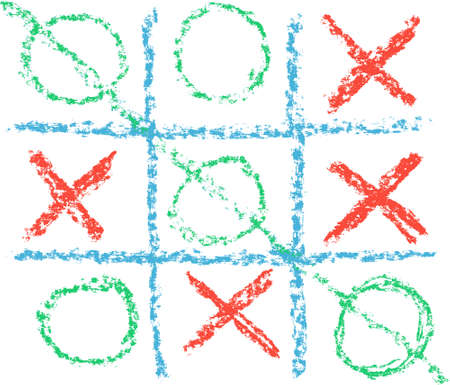 Hand Drawn Tic Tac Toe Game, format Vector