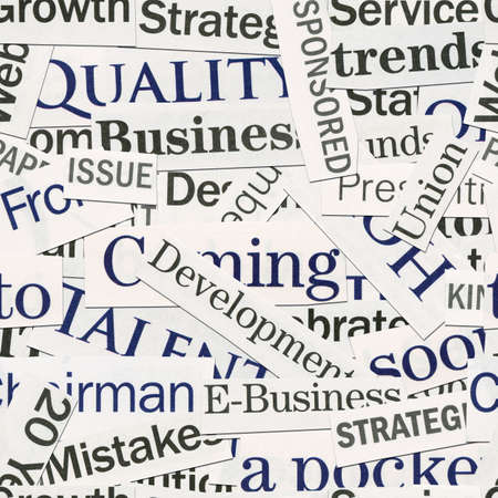 newspaper read: Seamless background, made of newspaper clippings. Business theme. Stock Photo
