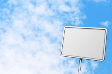 Blank billboard on a blue sky background photo
