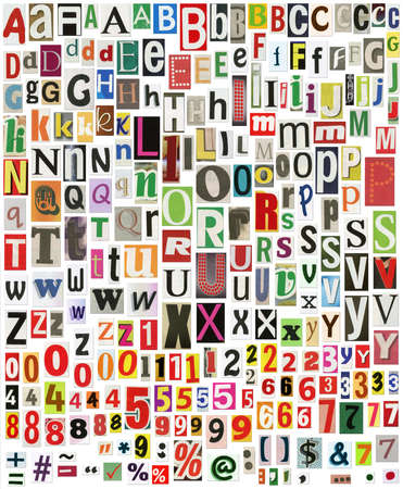 typesetter: Newspaper alphabet with numbers and symbols, isolated on white Stock Photo