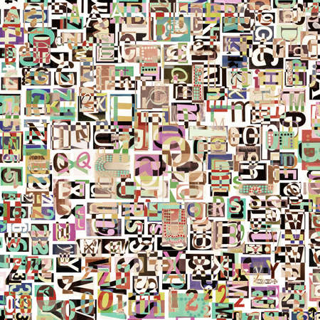 clippings: Designed background. Digital collage made of newspaper clippings. Stock Photo