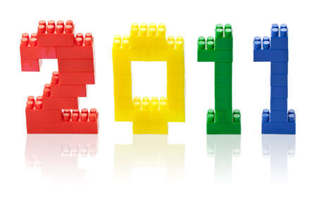 2011 year numbers made of color toy blocks photo
