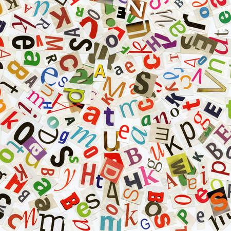 word art: Collage a mano de recortes de peri�dico ABC. Foto de archivo