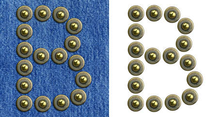 Jeans rivet alphabet letter B. On jeans background and isolated. Stock Photo - 8641658