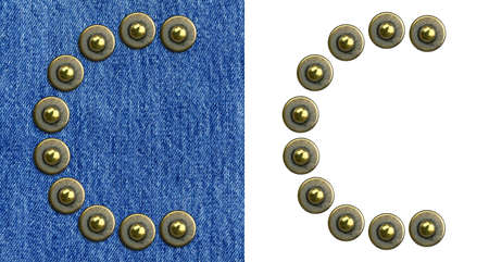 Jeans rivet alphabet letter C. On jeans background and isolated. photo