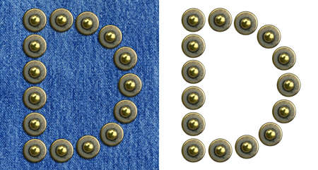 Jeans rivet alphabet letter D. On jeans background and isolated. Stock Photo - 8641646
