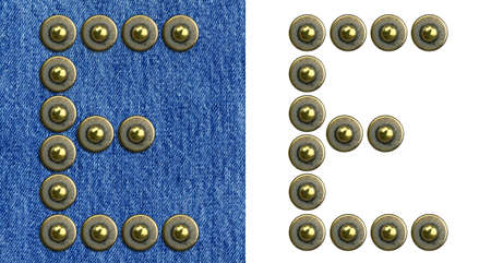 blue button: Jeans rivet alphabet letter E. On jeans background and isolated. Stock Photo