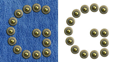 Jeans rivet alphabet letter G. On jeans background and isolated. Stock Photo - 8641625