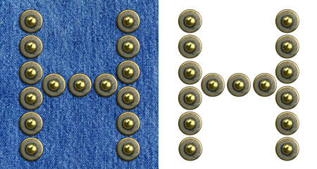 Jeans rivet alphabet letter H. On jeans background and isolated. Stock Photo - 8641645