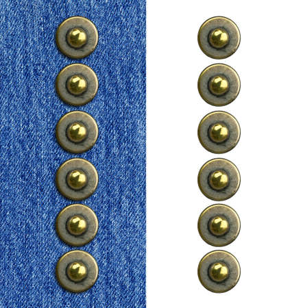 Jeans rivet alphabet letter I. On jeans background and isolated. Stock Photo - 8641597