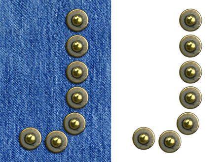 Jeans rivet alphabet letter J. On jeans background and isolated. Stock Photo - 8641598