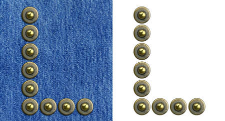 Jeans rivet alphabet letter L. On jeans background and isolated. photo