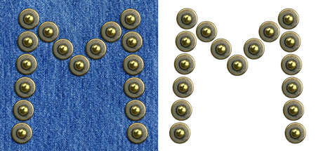 Jeans rivet alphabet letter M. On jeans background and isolated. photo