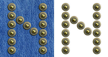 Jeans rivet alphabet letter N. On jeans background and isolated. photo