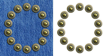 Jeans rivet alphabet letter O. On jeans background and isolated. photo