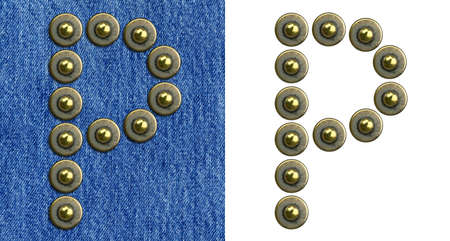 Jeans rivet alphabet letter P. On jeans background and isolated. photo