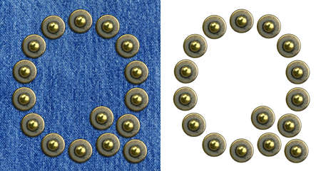 Jeans rivet alphabet letter Q. On jeans background and isolated. photo