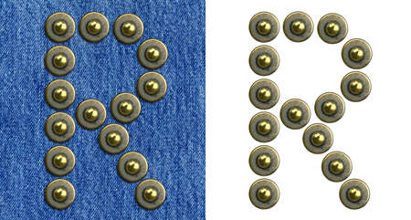 Jeans rivet alphabet letter R. On jeans background and isolated. photo