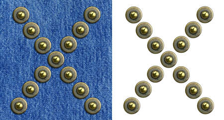 Jeans rivet alphabet letter X. On jeans background and isolated. photo