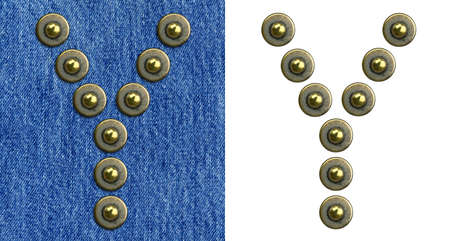 Jeans rivet alphabet letter Y. On jeans background and isolated. Stock Photo - 8641599