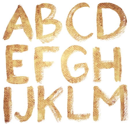 Textured hand drawn ABC letters set, isolated. photo