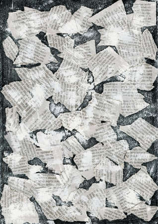 Grunge collage background made of torn newspaper photo