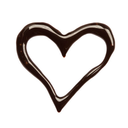 Close up chocolate syrup heart on white background