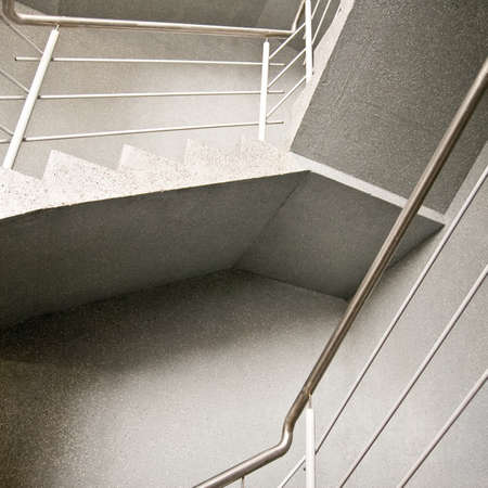 parapet wall: Abstract composition of empty modern building stairway